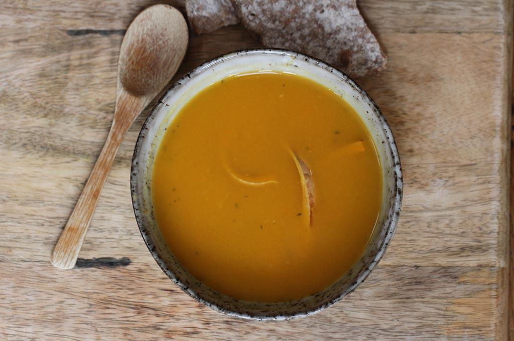 Butternut squash soup with cumin, ginger and crispy butternut